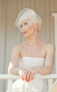 Looking for gorgeous wedding hairstyles for pixie cut? In this gallery you will find the best images of Wedding Hairstyles for Pixie Cuts that we have round Veil Hairstyles, Pixie Hairstyles, Pixie Haircut, Wavy Pixie Cut, Asymmetrical Pixie Cuts, Popular Short Hairstyles, Trending Hairstyles, Pixie Bride, Short Bridal Hair