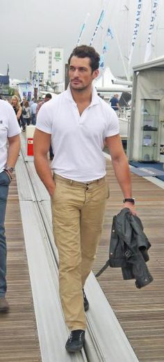 David Gandy spotted strolling at PSP Southampton Boat Show wearing tennis shoes ??