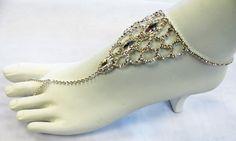 Silver Rhinestone Barefoot Anklet Beach Foot Jewelry Sandal Chain Bracelet Ankle