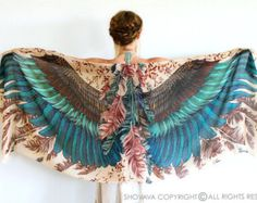 Wings scarf bohemian bird feathers shawl earthy hand by Shovava