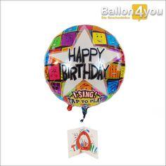 """Singender Ballon - Happy Birthday bunt mit Grußkarte       Happy Birthday - mit diesem Ballongruß rocken Sie garantiert jeden Geburtstag. Ein leichtes Antippen genügt und der Ballon singt ein exklusives Geburtstagsständchen. Zusätzlich ist in diesem Geschenkset die Grußkarte """"Gratulation"""", passend zum Geburtstag enthalten."""