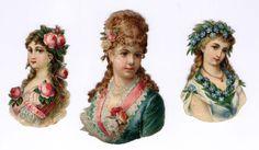 #Victorian #scraps  #ephemera #chromograph #lithograph #women (100 yr old die cuts)