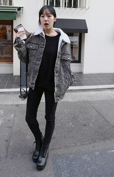 Women-Faux-Lamb-Wool-Lapel-Buckle-Belt-Cuff-Casual-Jean-Jacket-Coat
