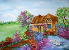 country cottage garden with swans 8x10 by AffordableARTbyRonda