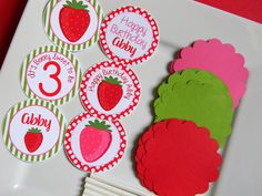 Strawberry Birthday Party Personalized DIY Cupcake Topper Kit - Strawberry Party Decorations- Strawberry Cupcake Toppers - Set of 12 by sweetheartpartyshop on Etsy https://www.etsy.com/listing/203537357/strawberry-birthday-party-personalized