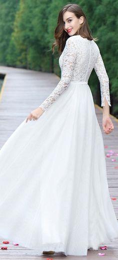 eDressit White Long Sleeves Overlace Bridal Gown
