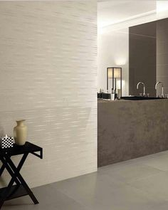 Subtler patterns work well in a more minimalist room, whether cream tiles (these are from Viva) cover an entire wall Minimalist Room, Minimalist Home Decor, Metro Tiles Bathroom, Cream Walls, Tiles Texture, Commercial Interiors, Beautiful Bathrooms, Modern Interior, Home Projects