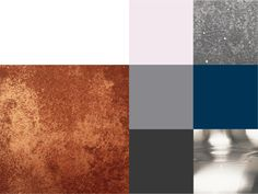 Colour scheme. Copper highlights. Muted greys with hints of blue. Nickel silvers & hints of dusky pink.