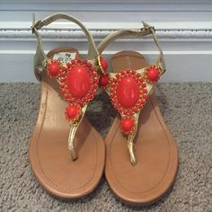 Bcbgeneration Coral Beaded Sandal Like new. Worn once. No missing beads. Only noticeable scratch is on 2nd picture on the wedge. Love the gold detail. Perfect for summer Price is negotiable BCBGeneration Shoes Sandals