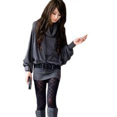 Sexy NEW Womens Long Sleeve Casual T-shirt Tops Mini Dress Blouse (Dark Gray) asoidchi,http://www.amazon.com/dp/B00EI8GGIU/ref=cm_sw_r_pi_dp_cihysb0MY51QMF21