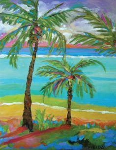 Beach Palm Tree Art  Print by Karen Fields by karenfieldsgallery