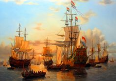 War conference on the Dutch flagship De Zeven Provinciën. Anglo-Dutch War