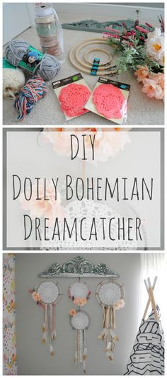 DIY Doily Vintage Bohemian Dreamcather with colored yarn, ribbon, lace, feathers, flowers which is perfect for a boho chic room or nursery