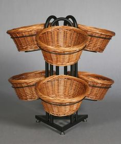 Round Willow 6 Basket Display, Basket Display, Basket Floor Stand