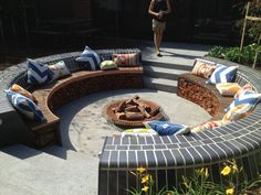 This conversation pit with a brazier is perfect for entertaining!