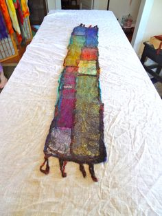 Nuno Wet Felted Mosaic Sari Silk Tablerunner by FeltBetter