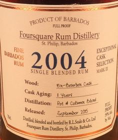 Barbados Rum, Old Port, 9 Year Olds, Distillery, Etiquette, Bourbon, Four Square, Whiskey, Drinks
