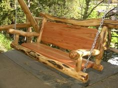 Biggest Furniture Store In The World Refferal: 9994441531 Wooden Swing Chair, Bench Swing, Wooden Swings, Swinging Chair, Rustic Log Furniture, Outdoor Furniture Plans, Porch Furniture, Furniture Stores, Rustic Patio