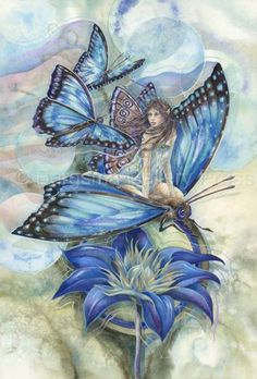 Wishes Have Wings by Jody Bergsma ~ fairy ~ blue flower & butterflies