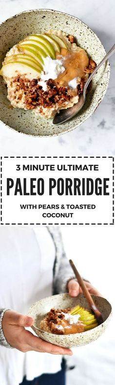 Incredible 3 minute Paleo Diet breakfast porridge bowl! The ultimate one bowl breakfast! Quick, easy, and tasty! The best easy paleo breakfast recipe. Paleo breakfast recipes for beginners. Paleo diet breakfast recipes. Easy paleo breakfast recipes for weight loss. One bowl paleo breakfast ideas. Paleo breakfast on the go! Easy healthy breakfast on the go. Healthy breakfast ideas. Vegan breakfast recipes. Easy gluten free diet breakfast recipes. Paleo cereal.