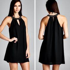 Stud Neckline Halter Dress - Black - $32.50