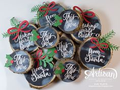 Tin of Tags, Oh What Fun with Pretty Pines thinlits and Stitched with Cheer (holly leaves) with Holly Berry Builder punch | chalkboard wood ornaments