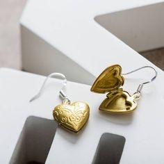 vintage brass heart locket earrings by charlie boots   notonthehighstreet.com