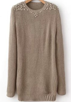 Shop Kahki Round Neck Bead Cable Knit Sweater online. Sheinside offers Kahki Round Neck Bead Cable Knit Sweater & more to fit your fashionable needs. Free Shipping Worldwide!