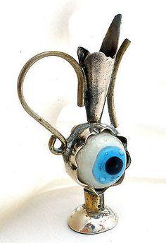 3D Evil Eye Pitcher Charm 900 Silver For Bracelet Vintage pendant