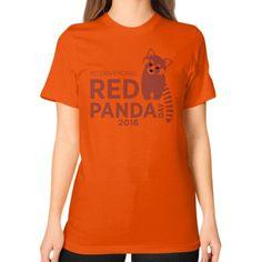 Red Panda Day Unisex T-Shirt (on woman)