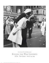"""Kissing the War Goodbye, VJ Day, Times Square, August 14, 1945 Poster by Lieutenant Victor Jorgensen"" - Iconic Photograph posters and prints available at Barewalls.com"