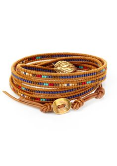 CHAN LUU Mix Charm Wrap Bracelet on Henna Leather | ideel