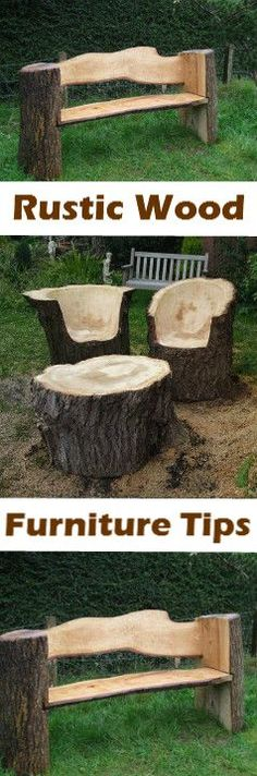Tips for making this fantastic rustic garden furniture: vid.c - Diy Crafts Rustic Outdoor Furniture, Log Furniture, Garden Furniture, Western Furniture, Furniture Design, Furniture Making, Into The Woods, Outdoor Projects, Wood Projects