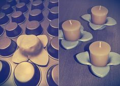 The Craft Caboodle: Clay Candle Holders Baked On Cupcake Pan