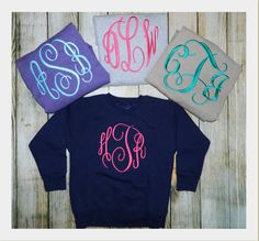 Ladies or Childs Monogrammed Sweatshirts by PrettyLittleRose in light grey color with pink initials