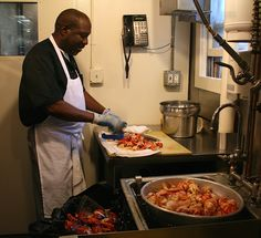 Herman working on the lobsters so we have plenty of fresh lobster meat to cook with!