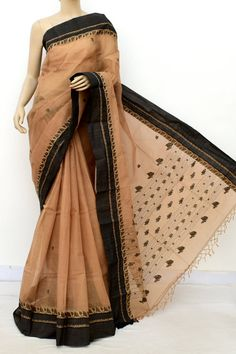 Fawn Exclusive Handwoven Bengal Tant Cotton Saree (With Blouse) Resham Border 17576 Handloom Saree, Georgette Sarees, Silk Sarees, Cotton Sarees Online Shopping, Buy Sarees Online, Bengali Saree, Indian Sarees, Trendy Collection, Saree Collection