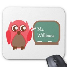 Teacher Mousepad - Red Owl At Chalkboard by The Pink Schoolhouse Owl Teacher Gifts, Red Owl, Custom Mouse Pads, Marketing Materials, Mousepad, Chalkboard, Create, Website, Button