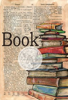 PRINT: Book Mixed Media Drawing on Distressed, Dictionary Page – Best Books Art Journal Pages, Journal D'art, Art Journals, Bullet Journal, Kunstjournal Inspiration, Art Journal Inspiration, Book Page Art, Book Pages, Artist's Book