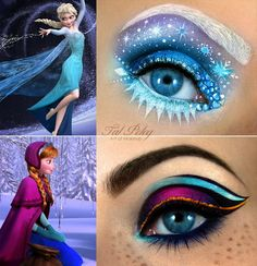 disney makeup looks Makeup artist Tal Peleg posted these amazing eye makeup designs based on the two main characters in Disneys Frozen. This Disney Princess Eye Makeup Art Is Stunning Eye Makeup Designs, Eye Makeup Art, Eye Art, Anna Makeup, Queen Makeup, Makeup Contouring, Makeup Eyeshadow, Makeup Fail, Eyeshadow Designs