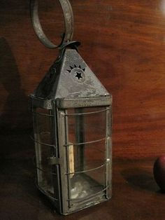 Antique Punched Tin Early Lighting Bird Cage Candle Lantern For Sale North Bayshore Antiques Lanterns For Sale, Old Lanterns, Antique Lanterns, Primitive Lighting, Antique Lighting, Antique Stores, Or Antique, Vintage Candle Holders, Candle Box
