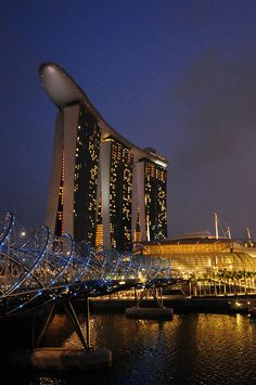 Marina Bay Sands and Helix Bridge, Singapore