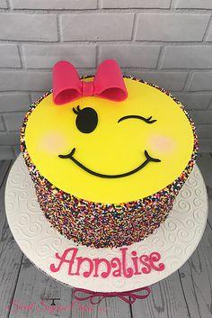 Winking Face Sprinkles Emoji Cake #sweetsuprisecakes #emojis #winkingface #sprinkles
