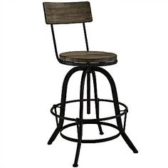 Industrial chic that conveys a rustic, retro aesthetic defines the Procure Bar Stool which  provides both style and comfort! With a high back for added support, this metal and pine wood seat also comes with a footrest. Durable construction of this stylish design makes it an ideal choice for your bar area, workroom or kitchen.