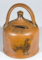 Rare Stoneware Presentation Bank with Incised Bird, Dated Conn.with rounded foot, button-shaped finial and unusual rainbow handle, decorated with an incised bird with feather detail below the incised date Antique Crocks, Old Crocks, Antique Stoneware, Stoneware Crocks, Primitive Antiques, Earthenware, Glazes For Pottery, Ceramic Pottery, Pottery Art