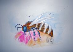 Aquarell Insects, Bee, Flowers, Animals, Watercolor, Painting Art, Animales, Animaux, Bees