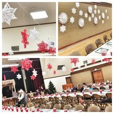 How to Decorate a Gym for a Christmas Party. I might change a few of the colors and add a few things here and there to fit our theme better but. - Tip Junkie Work Christmas Party Ideas, Christmas Stage Design, Christmas Potluck, Christmas Dance, Christmas Program, Xmas Party, Christmas Holidays, Christmas Decorations, Christmas Pageant