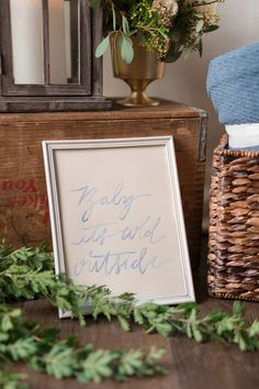 Creative Flow Co. :: Custom Watercolor Sign - Baby it's cold outside Blue Calligraphy