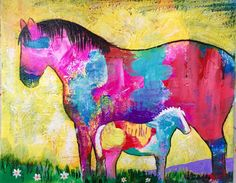 Original Horse Painting Mare & Foal by Caren Goodrich by caren