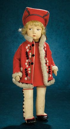 Forever Young - Marquis Antique Doll Auction: 204 An All-Original Italian Felt Character Girl, 109 Model, by Lenci
